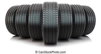 pneus, automobile, groupe