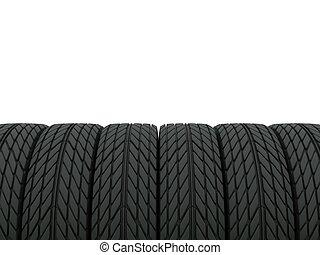 pneus, blanc, isolé, lot
