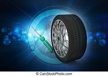 pneus, concept, 3d, remplacement