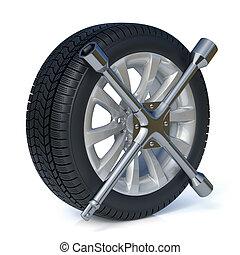 pneus, concept, remplacement
