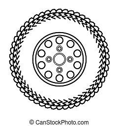 pneus, e, rodas, vetorial, ilustração