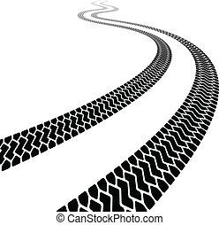 pneus, enroulement, vecteur, terrain, trace