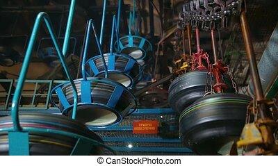 pneus, factory., production., convoyeur