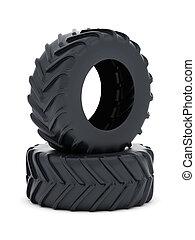 pneus, isolé, tracteur