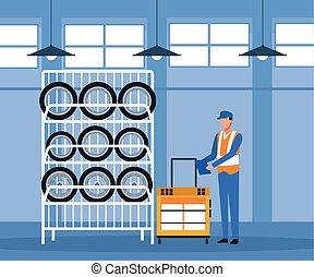 pneus, magasin, étagère, voiture, debout, paysage, réparation, mécanicien
