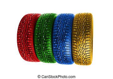 pneus, multicolore, hiver