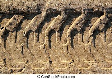 pneus, pneus, sable, imprimé, empreinte, plage, tracteur