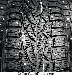 pneus, protecteur, pointes, hiver, neige