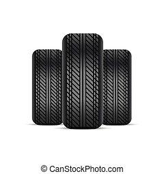pneus, réaliste, shadow., vector.