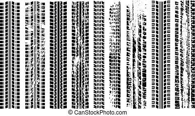 pneus, silhouette, trace, voie pneu, automobile, set., rubber., isolé, track., imprimer, piste, voiture., tracks., vector., grunge, route, noir