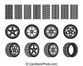 pneus, tires., vetorial, motocicleta, track., raça, automático, passo, motocross localizam, rastro, trilhas, rodas, isolado, veículo, ande bicicleta correr, roda, car, jogo, pneu, sujo, ou