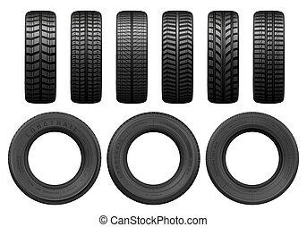 pneus, trilhas, vetorial, passo, car