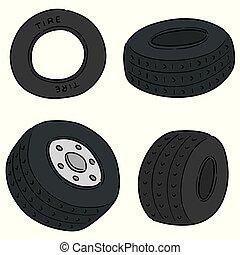pneus, vecteur, ensemble