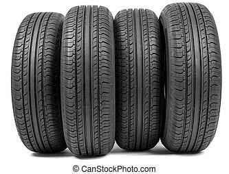 pneus, voiture, ensemble, complet, nouveau