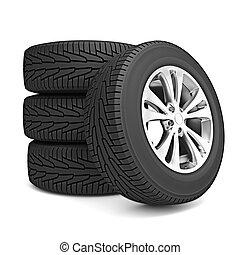 pneus, voiture, ensemble, hiver, isolé