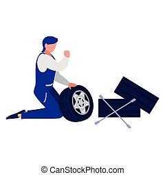 pneus, voiture, ouvrier, mécanicien