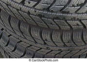 pneus, voiture, pile