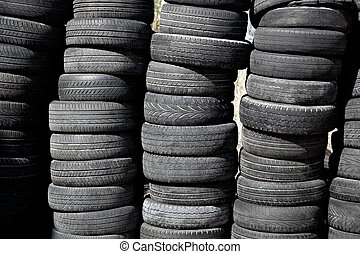 pneus, voiture, rangées, empilé, pneus