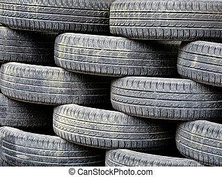 pneus, voiture, utilisé, fond, tas