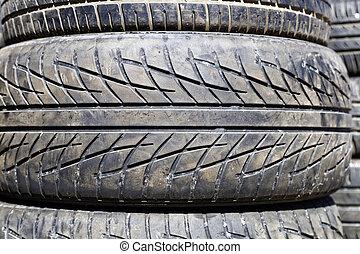 pneus, voiture, utilisé