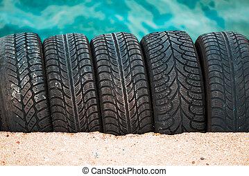 pneus, voiture, utilisé, pile