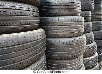 pneus, voiture, utilisé, vieux, empilé