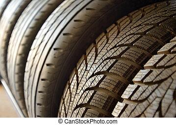 pneus, voiture, utilisé, vieux