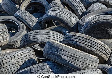 pneus, voiture, vieux