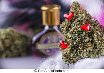 poção, detalhe, cannabis, macro, penas, marijuana, (love, tensão, broto