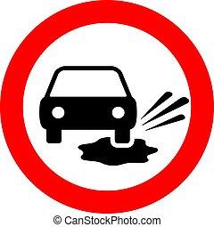 poças, vetorial, aviso, sinal estrada