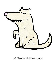 poço, cão, treinado, caricatura