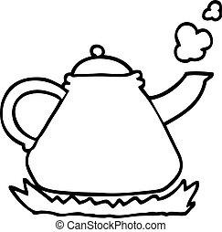 poêle, bouilloire, noir, blanc, dessin animé
