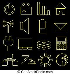 počítač, a, počítač na klín, indikace, nárys, ikona, eps10