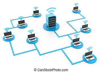 počítač, bezpečný, síť