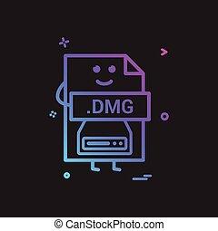 počítač, dmg, pořadač, formát, litera, ikona, vektor, design
