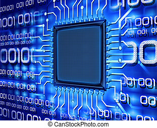 počítač, dvojitý, čip