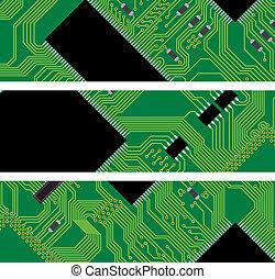 počítač, -, ilustrace, silný, grafické pozadí, vektor, deska, obvod, technika