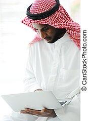 počítač na klín, čerň, arabský, pracovní, voják
