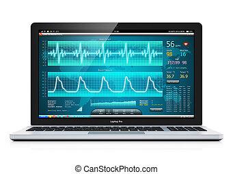 počítač na klín, s, lékařský, cardiological, diagnostický, software