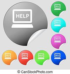 počítač na klín, tech, servis, ikona, podpis., dát, o, osm, multi barva, kolem, hotelový poslíček, stickers., vektor