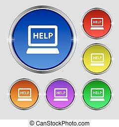 počítač na klín, tech, servis, ikona, podpis., kolem, znak, dále, bystrý, barvitý, buttons., vektor