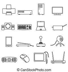 počítač, peripherals, čerň, nárys, ikona, dát, eps10