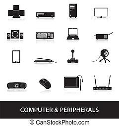 počítač, peripherals, ikona, eps10