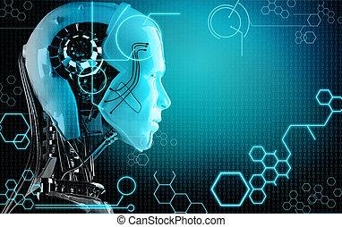 počítač, robot, grafické pozadí