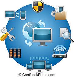 počítačová síť, ikona, dát