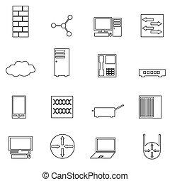 počítačová síť, jednoduchý, nárys, ikona, dát, eps10