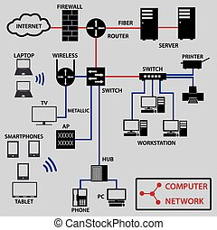 počítačová síť, konexe, ikona, a, topology, eps10