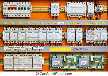 počítadlo, dozor, (fuse), statický, deska, circuit-breakers, energie
