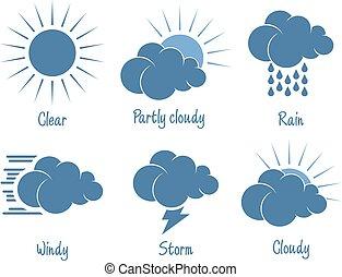 počasí, dát, předpověď, ikona