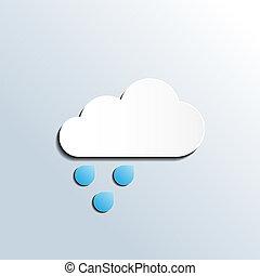 počasí, deštivý, vektor, předpověď, ikona
